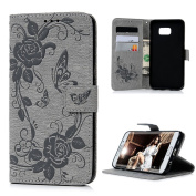 S6 Edge Plus Case,Samsung Galaxy S6 Edge Plus Case - Mavis's Diary Wallet Embossed Peonies and Butterflies PU Leather Snug Fit Soft TPU Inner Cover with Magnetic Clip & ID/Credit Card Holders - Grey