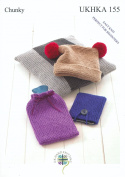 Chunky Knitting Pattern for Easy Knit Hat Cushion Hot Water Bottle & Tablet Covers