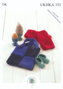 Double Knitting DK Pattern for Easy Knit Baby Shoes Egg Cosy Wrist Warmers & Bag