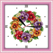 YEESAM ART® New Cross Stitch Kits Advanced Patterns for Beginners Kids Adults - Coloured Poppies Clock Face 11 CT Stamped 35×35 cm - DIY Needlework Wedding Christmas Gifts
