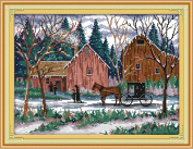 YEESAM ART® New Cross Stitch Kits Advanced Patterns for Beginners Kids Adults - Snowy Day 11 CT Stamped 54×41 cm - DIY Needlework Wedding Christmas Gifts