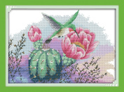 YEESAM ART® New Cross Stitch Kits Advanced Patterns for Beginners Kids Adults - Flowers And Hummingbird 11 CT Stamped 56×41 cm - DIY Needlework Wedding Christmas Gifts