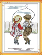 Good Value Cross Stitch Kits Beginners Kids Advanced -Rope Skipping-innocence 11 CT 25cm x 36cm , DIY Handmade Needlework Set Cross-Stitching Accurate Stamped Patterns Embroidery Home Decoration Frameless