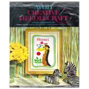 "Vintage Avon Creative Needlecraft ""Friends"" Crewel Embroidery Kit Giraffe & Mouse"
