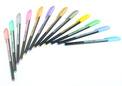 BeBeFun 12 Assoted Colour Gel Pens Set. Best Partner for Your Scrapbooking/Colouring book.