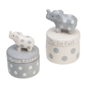 Elegant Baby Ceramic Elephant Tooth and Curl Set, Grey