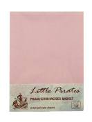 2 pack Baby Pram/Stroller/Bassinet/Cradle/ Moses Basket Pink Flat Sheet, 100% Luxury Brushed Cotton ...
