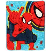 Boys Blue Spiderman Cartoon Character Blanket