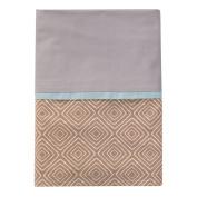 100% Cotton, Taupe Maze with grey fabric & Aqua Trim Bed Skirt