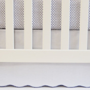 White & Navy, Cotton Panels Crib Skirt with Scalloped Trim