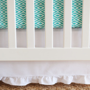 130cm x 70cm x 38cm , White Cotton Panels Gathered Crib Skirt