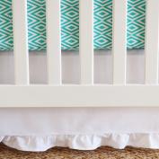 130cm x 70cm x 38cm , White Cotton Panels Gathered Crib Skirt