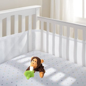 Breathable Baby Mesh Crib Liner (White) with CuddlesMe Plush Monkey w/Pacifer