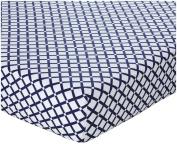 100% Cotton, Navy Cheques Crib Sheet, 130cm x 70cm