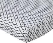 100% Cotton, Navy Trellis Crib Sheet, 130cm x 70cm