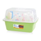 OLizee® Baby Bottle Drying Racks with Anti-dust Cover Large Nursing Bottle Storage Box Baby Dinnerware Organiser Free 6 Hangers, Green