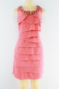S.L Fashions sleeveless tiered tank beaded neck dress pink size 12