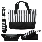 Nappy Bag Messenger with Changing Pad, Bottle Holders, Travel Money Belt, Stroller Clips, Colour Black