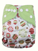 Nooya Baby Cloth Nappy Nappy 1 Nappy Cover + 2 Inserts One Size with Adjustable Snaps Reusable and Washable