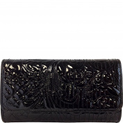 JNB Embroidered Patent Leather Clutch