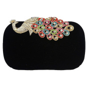 Deercon Velvet Rhinestone Stud Evening Cocktail Wedding Party Handbag Clutch Purse Wallet