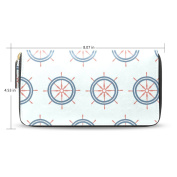 Womens Ship Steering Wheel Leather Long Wallet Zippered Purse Case with Card Holder