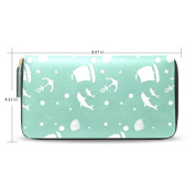 Womens Anchors Leather Long Wallet Zippered Purse Case with Card Holder
