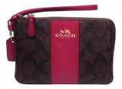 Coach Signature PVC Corner Zip Wristlet Brown with Purple Fuchsia Stripe 54629