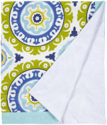 100% Cotton Fabric, Aqua Indigo Summer Crib Blanket