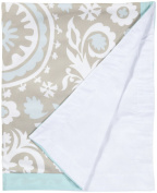 100% Cotton, Aqua & Khaki Crib Blanket