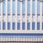 100% Cotton, Blue/Grey Cotton Crib Skirt