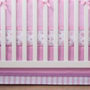 100% Cotton, Pink/Grey Cotton Crib Skirt