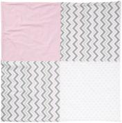 Pink & Grey Crib Blanket, 90cm x 90cm