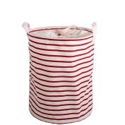 Enjelw Foldable Storage Basket with Cover DIrty Clothes Organiser Barrel Laundry Bucket