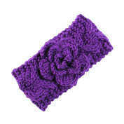 Novolix Infant Hair Band Elastic Knit Headbands Soft Crochet Wool Head Wrap with Lovely Flower