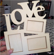 Dhrob Hollow Love Wooden Family Photo Picture Frame Rahmen(wood colour) Base Art DIY Home Decor