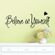 BIBITIME Believe In Yourself Office Inspirational Motivational Inspiring Achievement Success Kid Vinyl Wall Quotes Lettering Sticker Decal