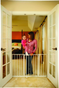 Convenient Walk Through Lightweight Wide Baby Gate with 2 Extension Kits
