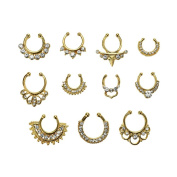 Maggie 11Pcs Fake Septum Clicker Nose Ring Rhinestone Non Piercing Hanger Clip Body Jewellery