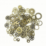Mudder Steampunk Gears and Cogs Bulk 100g for Craft Jewellery Accessories, Bronze