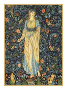 Forest Maiden in blues by William Morris Counted Cross Stitch Pattern