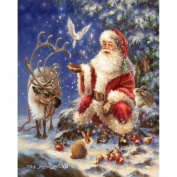 WUKE Christmas Santa Claus Diamond Painting DIY Resin Diamond Cross Stitch Kits for Home Decoration and Gift 14*46cm Inch