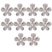 10pcs Phenovo Flower Rhinestone Buttons DIY Craft Embellishment Silver