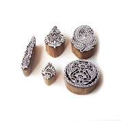 Round and Paisley Ethnic Motif Wood Print Stamps