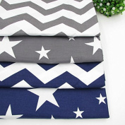 4pcs/lot 40cm x 50cm Grey Dark Blue Stars Chevron Printed Cotton Fabric for Home Textile Bedding Quilting Tissue to Patchwork