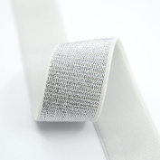 iCraft 2.5cm Wide Soft Gold and Silver Glitter Elastic Bands By 3-yard, Waistband Elastic , Sewing Elastic