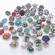 25PCs Yaoding Mix Style Rhinestone Snaps Chunk Press Buttons 18mm for Snap Charms Ginger Jewellery Making