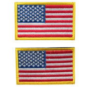 Bundle 2 pieces - Full colour American US Flag Red White Blue with Gold yellow Border Hook and loop Patch Decorative Embroidered Badge appliques