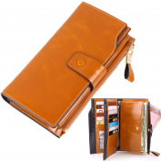 Womens Lady's Large Luxury Wallets, Lecxci Genuine Cowhide Leather Zipper Multi Card / Cash / Coin Change Clutch Wallet Purse with Cell Phone Holder for Women