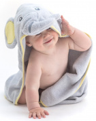 EXTRA SOFT Elephant Baby Hooded Towel - 100% Cotton Baby Hooded Bath Robe - Perfect For Baby Shower Newborn Or Toddler - Hooded Baby Towel For Girls And Boys